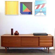 60er h. p. hansen teak sideboard danish design 60s credenza ... - Danish Design Wohnzimmer