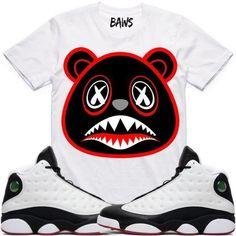 8f545fcae259b BRED BAWS White Sneaker Tees Shirt - Jordan 13 He Got Game