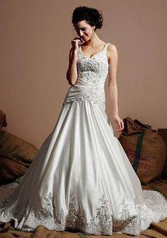 Splendid Satin Floor Length A line Natural Waist Chapel Train Wedding Dress