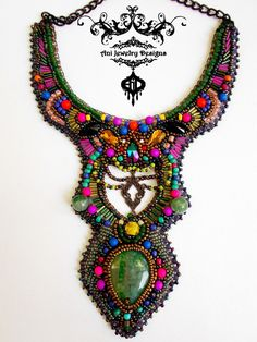 Aurora Borealis bead embroidery necklace