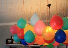 Upside down balloons = cost effective, cute party decorations!