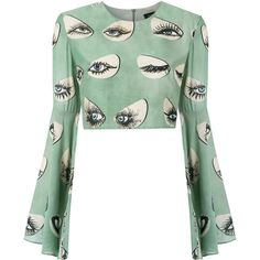 Adriana Degreas printed blouse ($767) ❤ liked on Polyvore featuring tops, blouses, green, crop top, green crop top, crop blouse, white crop top, cut-out crop tops and green top