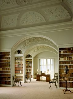 The Book Room at Wimpole. The plasterwork in the forground dates from the James Gibbs phase of the room, while the elliptical arches were designed by John Soane