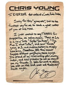 Chris Young Writes Thank You Note :)
