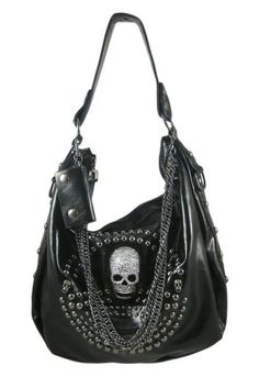 'Studded Skull Purse' on Wish ~ love the skull and the chains together :)
