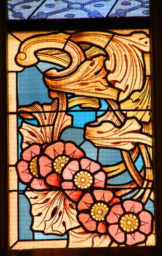 Art Nouveau stained glass, Church of St Barbara, Kutná Hora, Central Bohemian Region, Czech Republic ~ UNESCO World Heritage Site. Stained Glass Church, Stained Glass Paint, Stained Glass Flowers, Stained Glass Designs, Stained Glass Panels, Stained Glass Patterns, Art Nouveau, Art Deco, Mosaic Glass