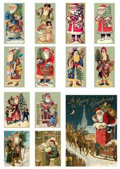Santa Father Christmas Fabric Panels Cotton 12 Panels - ideas for Santas Father Christmas, Christmas Holidays, Christmas Gifts, Xmas, Christmas Fabric Panels, Christmas Printables, Vintage Images, Santa, Diy Crafts