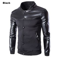 Buy from us Men's PU Jackets Single Breasted Coats. Buy more and save off the total order with code: Pu Jacket, Bomber Jacket Men, Jacket Style, Sweater Jacket, Baseball Jacket Men, Sports Jacket, Mode Unique, Mens Fleece, Men's Coats And Jackets