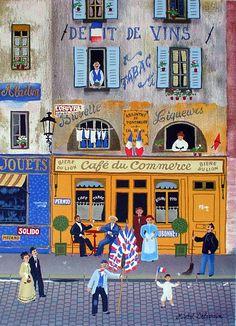 Paris Street Scene With Cafe by Michel Delacroix