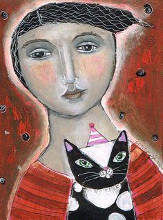 Mixed Media Painting Print Modern Folk Art by kittyjujube
