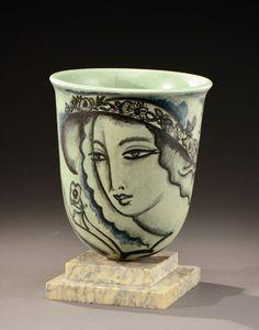 Lot : RENE BUTHAUD (1886-1986) - Vase ovoïde à large col évasé en céramique émaillée  /circa 1930    Dans la vente Arts Décoratifs (Lyon) à Aguttes  France