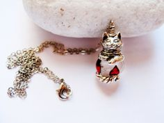 Silver Plated Cat Necklace Cat Charm by GlassHouseLampwork on Etsy, $25.00