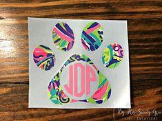 Dog Paw With Circle Monogram Car Monogram, Cricut Monogram, Preppy Monogram, Monogram Stickers, Free Monogram, Monogram Fonts, Yeti Decals, Vinyl Decals, Car Decals