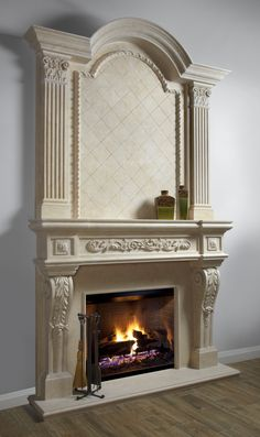 Beige Omega fireplace mantel with overmantel