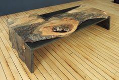 Coffee table, sugar maple with blackened steel.