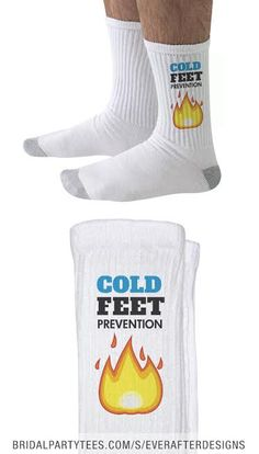 Cold Feet Prevention Socks - Make sure the is prepared on his big day with these cold feet prevention socks! Team Groom, Cold Feet, Big Day, Socks, Funny, Wedding, Fashion, Valentines Day Weddings, Moda
