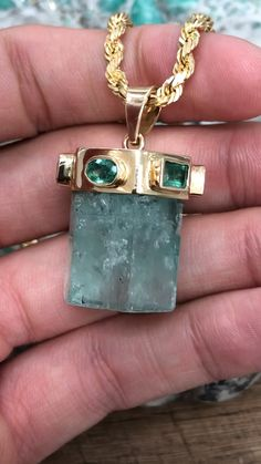 """A unique piece I designed and had, """"Humberto"""" completely hand make. The large Muzo emerald rough weighs carats and the accenting emeralds weigh a total of carats. Sea Glass Jewelry, Crystal Jewelry, Crystal Necklace, Jewelry Box, Fine Jewelry, Unique Jewelry, Jewelry Stores, Gems Jewelry, Emerald Necklace"""