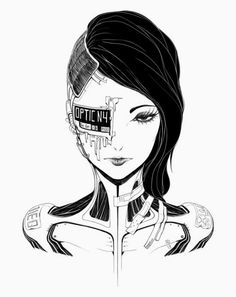 Cyborg girl, biomechanics, android, black and white Arte Cyberpunk, Cyberpunk Anime, Cyberpunk Aesthetic, Cyberpunk Character, Cyberpunk Tattoo, Cyberpunk Fashion, Gothic Fashion, Character Art, Character Design