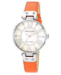 Anne Klein Watch, Women's Orange Lambskin Leather Strap 34mm 10-9919MPOR - Women's Watches - Jewelry & Watches - Macy's