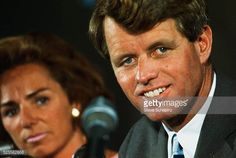Robert Kennedy at press conference His wife Ethel is in the background