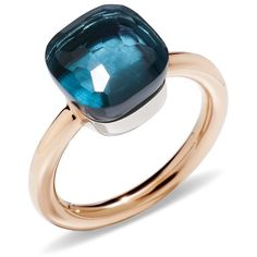 Pomellato Nudo Classic Ring with London Blue Topaz in 18K Rose Gold... ($3,050) ❤ liked on Polyvore featuring jewelry, rings, white gold jewellery, london blue topaz white gold ring, red gold ring, london blue topaz ring and 18k rose gold jewelry