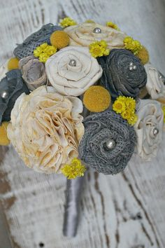 Handmade Yellow & Grey Alternative Wedding Bouquet by TheSunnyBee