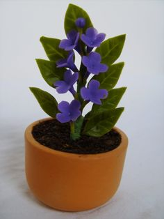 "Dollhouse Miniature ""Luscious Purple"" Potted Plant One Inch Scale"