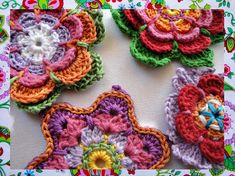Instant Download 3  Colorful Flowers  Crochet by wonderfulhands, $5.50