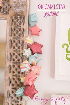 Tutorial: origami paper star garland {Honey & Fitz}