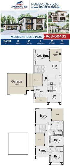 House Plan 963 00433 Modern Plan 2 723 Square Feet 3 Bedrooms 2 5 Bathrooms House Layout Plans Modern House Plan House Plans