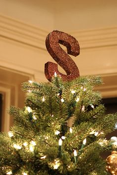christmas tree toppers, initials, ribbons, first christmas, cardboard letters, glitter, monograms, christmas trees, monogram tree