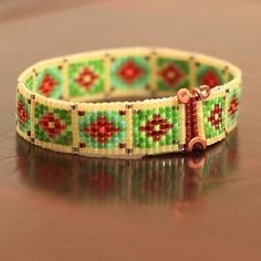 Russian Flowers Beaded Bracelet by PuebloAndCo on Etsy, $14.99