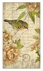 Large Left Bird with Flowers Vintage Style Wooden Sign