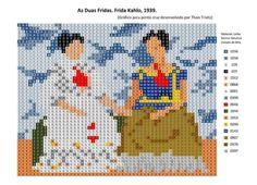As duas fridas. Frida Kahlo Embroidery Patterns, Hand Embroidery, Cross Stitch Patterns, Pixel Art, Pixel Drawing, Frida Art, 8 Bit Art, Hippie Crochet, Chart Design