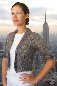 Very cute little knit cardi. Ravelry: City Cardigan to Knit pattern by Val Love Cropped Cardigan, Cardigan Sweaters For Women, Cardigans For Women, Sweater Cardigan, Love Knitting Patterns, Free Knitting, Weaving Patterns, Knitting Ideas, Knitting Designs