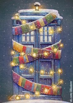 ''Tardis Christmas Card'' by nokeek (deviantART) source: http://nokeek.deviantart.com/art/Tardis-Christmas-Card-500291422