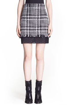 MSGM+Plaid+Tweed+Miniskirt+with+Contrast+Inset+available+at+#Nordstrom