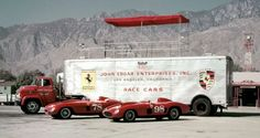 Joe Landaker's pride and joy was the Edgar team's 10-wheel transporter with hotted GMC V8 tractor. Displayed are Edgar Ferraris, 375 Plus (left) and 410 Sport.