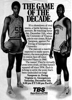 """1982 The Game if The Decade. Before the """"One-and-done"""" years of College Basketball. Virginia's Ralph Sampson vs Georgetown's Patrick Ewing. These are the type of games that are missing in today's college game. #NCAA #GoodOleDays"""