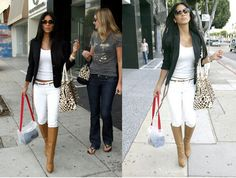 How to wear boots in the summer! All white and a contrasting blazer.