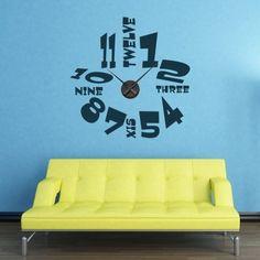 """Adesivo Murale - Orologio Divertente.  Adesivo murale di alta qualità con pellicola opaca di facile installazione. Lo sticker si può applicare su qualsiasi superficie liscia: muro, vetro, legno e plastica.  L'adesivo murale """"Orologio Divertente"""" è ideale per decorare la vostra cucina. Adesivi Murali."""