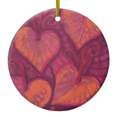 Hearty Flowers, floral hearts, pink, red & orange Ceramic Ornament