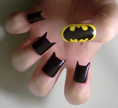 Batman nails. Cool in theory but I would never grow my nails out that long to get the look. I'd probably poke my eye out anyway when I'd take out my contacts.