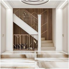 40 Perfect Staircase Railing Designs and Ideas - HERCOTTAGE Everyone strives to have Perfect Staircase Railing Designs and Ideas for their house, however, there are more factors to it. Staircase Railing Design, Modern Stair Railing, Staircase Handrail, Interior Staircase, Modern Stairs, Interior Exterior, Home Interior, Staircases, Wall Cladding Interior