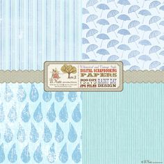 baby shower theme | bnute productions: Free Printable Rainy Day Digital Scrapbook Papers