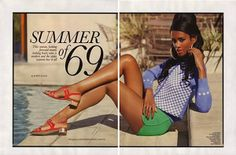 "ELLE takes it back to the ""Summer of 69″ in their UK May edition. Dominican Model Eunice Rodriguez is decked out in the best fashions of the late 60′s and 70′s."