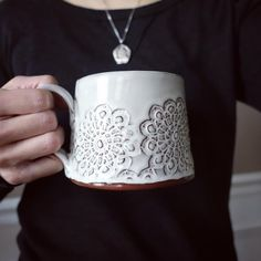 """58 Likes, 5 Comments - Tomomi (@studiopema) on Instagram: """"Slab built mug with pressed doily pattern in white. I made some adjustments to the shape and the…"""""""