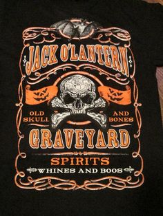 Jack O' Lantern Graveyard Spirits Whines and Boos BAT Skull Halloween Shirt Med.  BUY IT NOW #Jack #BasicTee