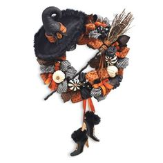 Shop for witch decorations and witch figures at Grandin Road Halloween Haven. Find witch decor and flying witch decorations to bewitch your home this Halloween. Halloween Witch Wreath, Halloween Mantel, Halloween Home Decor, Outdoor Halloween, Halloween House, Holidays Halloween, Halloween Diy, Halloween Decorations, Samhain Decorations