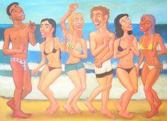 Cuadro del artista Diego Manuel. Fiesta en la playa 4, acrylic on canvas, 95 x 130 cm, 2014